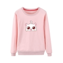 Lovely Cat Printed Round Neck Loose Long Sleeve Sweatshirt