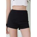 Basic Plain Zipper Side Hot Pants Denim Shorts