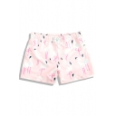 Quick Dry Mens Pink Stretch Flamingo Printed Bathing Shorts with Brief Lining