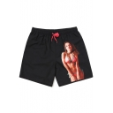 Popular Black Men's Elastic Drawstring Sexy Lady Print Swimming Trunks with Mesh Brief
