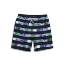 Retro Mens Black Striped Tropical Bathing Shorts with Hook and Loop Pockets