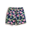 Trendy Elastic Men's Navy Blue Fast Drying Drawcord Floral Leaf Beach Shorts for Summer without Liner