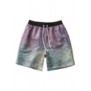 Colorful Elastic Heathered Purple Ombre Print Drawcord Swim Shorts for Male
