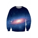 Couple's Starry Sky Spirals Pattern Round Neck Long Sleeve Sweatshirt