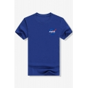 Hot Style Planet NASA Letter Print Round Neck Short Sleeves Daily Tee