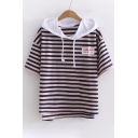 Letter Number Printed Color Block Striped Hooded Tee
