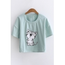 Cat Printed Round Neck Short Sleeve Striped Tee