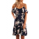 Off The Shoulder Floral Printed Short Sleeve Mini A-Line Dress