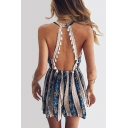 Tassel Embellished Hollow Out Back Sleeveless Halter Floral Printed Romper