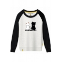 Cats LOVE YOU LOVE ME Letter Printed Color Block Raglan Long Sleeve Sweatshirt