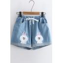 Rabbit Embroidered Drawstring Waist Denim Shorts
