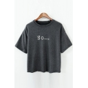 SO Letter Printed Round Neck Short Sleeve Tee
