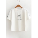 Contrast Striped Applique Short Sleeve Cat Printed Round Neck Short Sleeve Tee