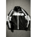 SHOW ME THE MONEY Letter Print Color Block Zipped Jacket with Double Pockets