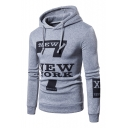 7 Number NEW YORK Letter Printed Long Sleeve Slim Hoodie