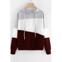 Casual Color Block Panel Long Sleeve Hoodie
