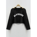 BLACKDOPE Letter Printed Hollow Out Long Sleeve Sweatshirt