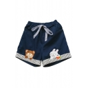 Bear and Rabbit Embroidered Stripes Tie Elasticated Waist Shorts