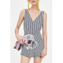 V-Neck Stripes Sleeveless Gathered Waist Tie Back Rompers