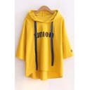 UNION Letter Number Printed Short Sleeve Hooded Tee