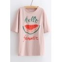 HELLO SUMMER Watermelon Printed Round Neck Short Sleeve Tee
