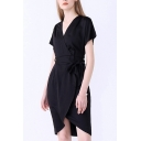 Wrap Front Short Sleeve Tie Waist Plain Midi Dress