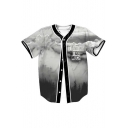 THINKING TOO MUCH Letter Landscape Printed Short Sleeve Buttons Down Baseball Tee