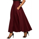 Vintage High Waist Plain Bow Tied Back Maxi A-Line Skirt