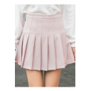 High Waist Letter Embroidered Mini Pleated Skirt
