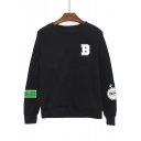 B Letter Baseball Printed Round Neck Long Sleeve Sweatshirt