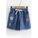 Pentagram Applique Drawstring Waist Loose Denim Shorts