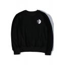 Sad Face Letter Printed Round Neck Long Sleeve Sweatshirt