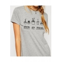 PLANTS ARE FRIENDS Letter and Potted Plant Printed Round Neck Short Sleeves Tee
