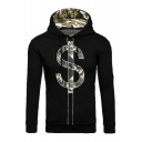 Color Block Camouflage S Letter Printed Long Sleeve Hoodie