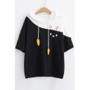 Color Block Carrot Embellished Drawstring Hood Rabbit Printed Hooded Tee