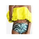 Off The Shoulder Leaf Printed Bottom Ruffle Detail Bikini