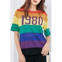 1980 Number Color Block Striped Printed Round Neck Short Sleeve Knit Tee