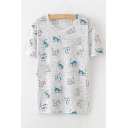Lovely Cat Printed Round Neck Short Sleeve Loose Tee