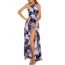 Halter Sleeveless Hollow Out Back Floral Printed Split Front Maxi A-Line Dress