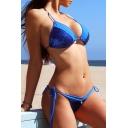 Sexy Sequined Embellished Halter Bikini