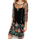 Floral Embroidered Round Neck 3/4 Length Sleeve Mini A-Line Sheer Mesh Dress
