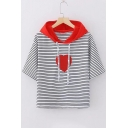 Heart Pattern Striped Printed Color Block Hood Short Sleeve Hooded Tee