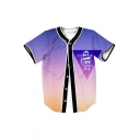 Ombre Letter Animal Printed Buttons Down Short Sleeve Baseball Tee