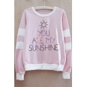 YOU ARE MY SUNSHINE Letter Contrast Striped Printed Round Neck Long Sleeve Sweatshirt