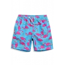 Funny Quick Drying Blue Pink Flamingo Drawcord Beachwear for Men with Pockets