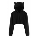 Cat's Ears Embellished Hood Long Sleeve Plain Crop Hoodie