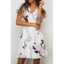 Holiday V Neck Floral Printed Short Sleeve Mini Wrap Dress