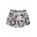 Designer Quick Drying Black Short Daisy Floral Swim Trunks with Mesh Brief