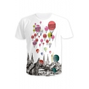 Hot Air Balloon House Printed Round Neck Short Sleeve Tee