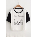 STAY CURIOUS Cat Printed Color Block Raglan Short Sleeve Round Neck Tee